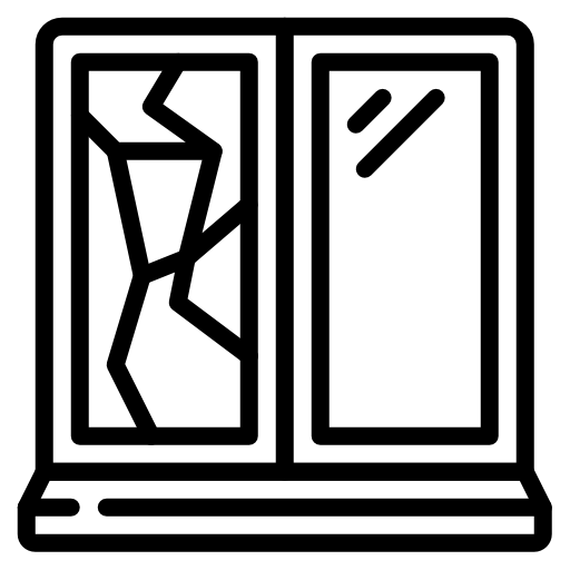 An icon depicting a window with broken glass.