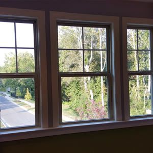 a scenic view of three nice looking windows.